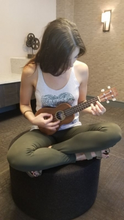 Marilyn is working on her first ukulele chords!
