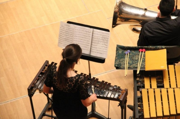 Playing in a film orchestra concert in Valencia, Spain.