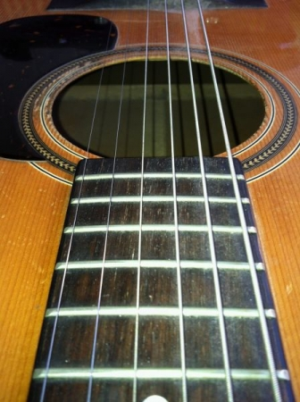 This is a close up of my guitar I bought brand new in 1976, it is an Alvarez, now my son, 23, plays it all the time.