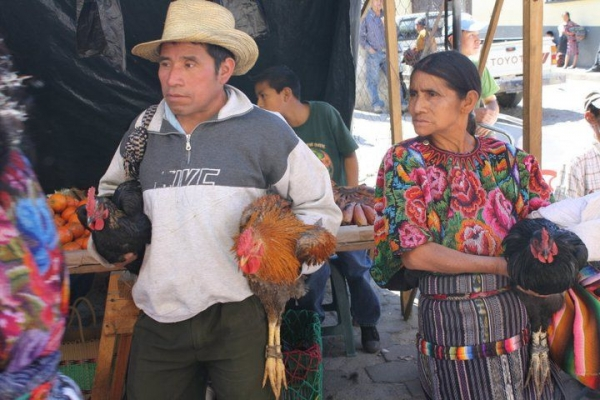Guatemala couple in the market.