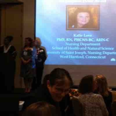 Getting my award for teaching excellence through the Connecticut Nurses Association.