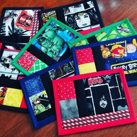 A sample of the Mug Rug mini quilts we make in the Learn To Quilt class.