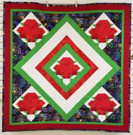 My Rose Quilt design we learned in 2017. The Rose block is made using a 'Y' seam.