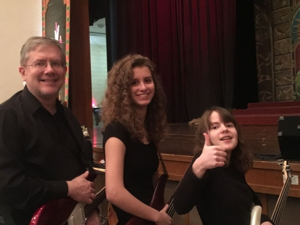 In the orchestra pit with my 2 favorite students - my daughters!