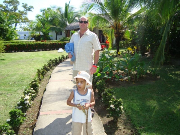 On vacation in Panama with my son Anthony.