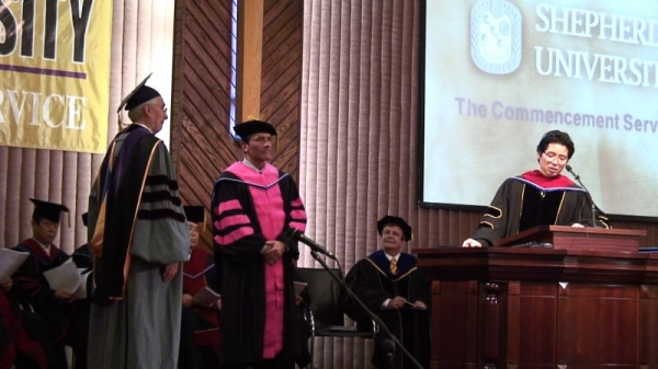 Carlos Campos. Ceremony for  Honorary Doctor of Music Arts, Shepherd University, Los Angeles (2011).