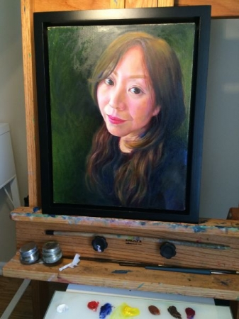 Oil painting, a portrait on my easel.