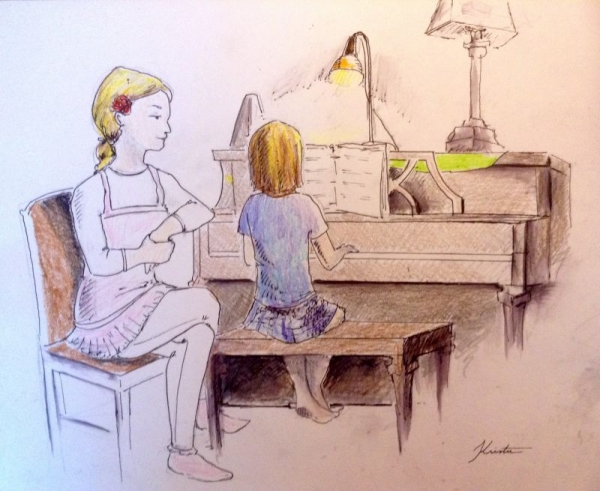 Artwork of me and a student drawn by her mom.