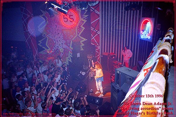 Sammy Hagar (The Red Rocker) Introducing Loren Adams as his opening act at the 1996 Birthday Bash to an excited sold out crowd.