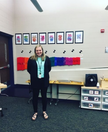 This is me in my general music classroom on the first day of school (2017-2018 school year).