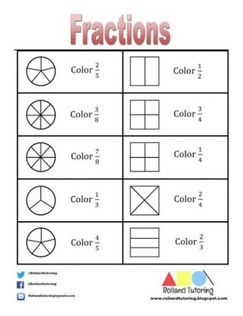Elementary Math Fraction Worksheet created by Rolland Tutoring (a.k.a. ME). Example of elementary math material I have created.