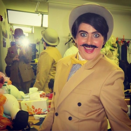 "This is me as Oliver Hix in an all female Broadway Show of ""the music man"""