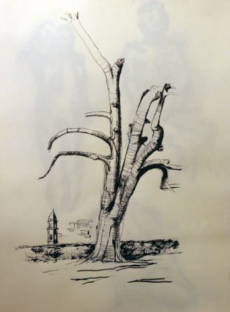 Study of tree in ink. For my more advance students, we incorporate drawing from real life in my lessons to hone draftsmanship and realism.