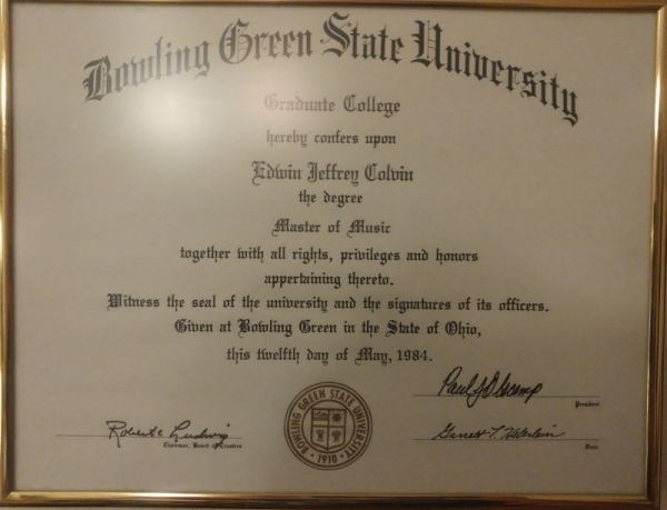 Masters Degree in Music Diploma from B.G.S.U