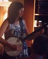 At a Music by the Bay house concert (Gary Martin's), Assonet on the Bay, c. 1996,