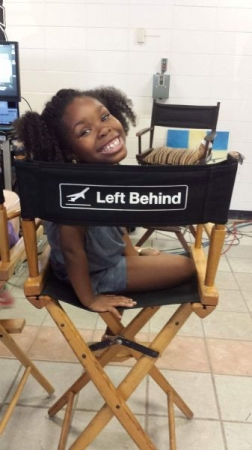Student, Kamryn Johnson, on set of Left Behind