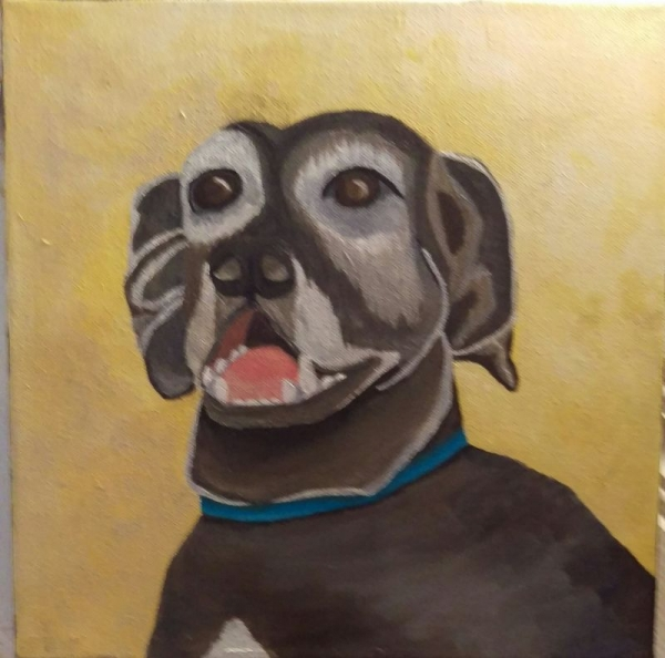 A painting I did of my family's dog when I was growing up.