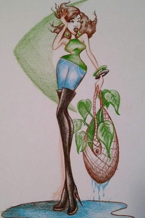 Fashion Illustration and layout with color pencils.