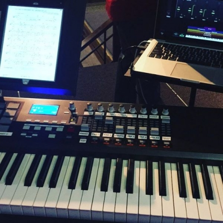 My setup on Sunday mornings at Cartersville First Baptist Church.
