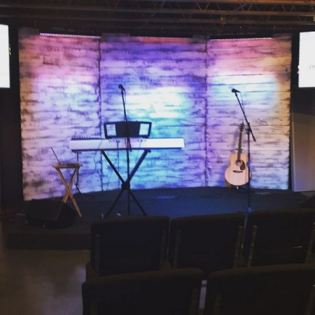 The stage at Union Hill Baptist church when I filled in one Sunday morning.