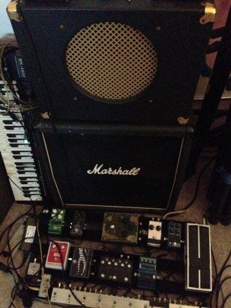 Old guitar rig. I've upgraded since to the 2x12 version of the Goldtone and added a Twin Reverb. Pedalboard is a bit thinner now.