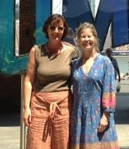 English student Babina Planta from Sent, Switzerland with Deirdre at DUMBO.