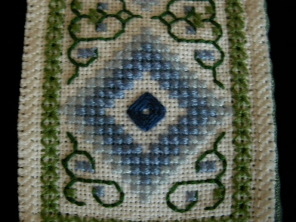 Stitch examples: eyelet, stem, cross and rose