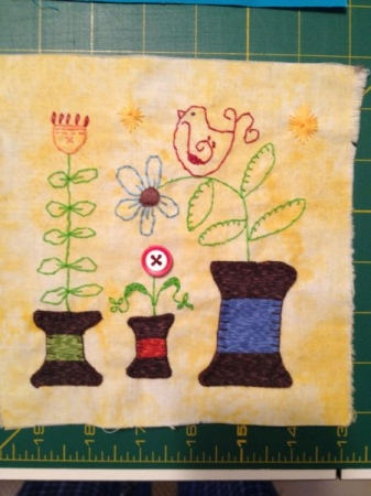 Quilting examples: Applique and free-hand embroidery.