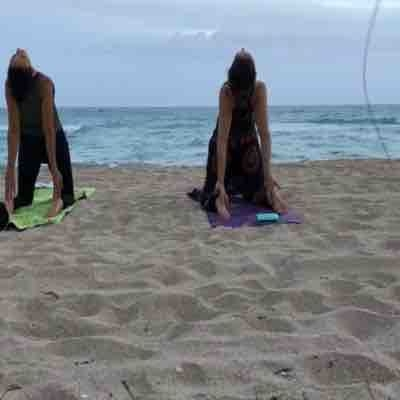 Yoga on the beach, so tranquil with a great view and fresh air