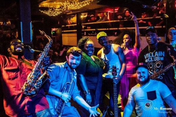 Group photo of The Upstarters at the end of an amazing performance at The Ottobar.