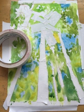 """An  example of using tape to """"resist"""" the paint in watercolor."""