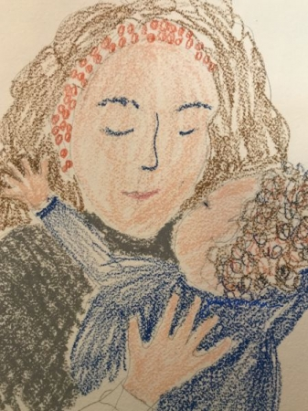 Drawing of mother and child by Jane.