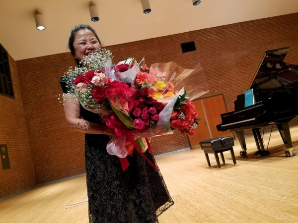 Boquets of flowers after Senior Piano Recital