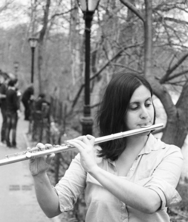 Playing flute in Central Park, New York City. Photo: Ben Summers.