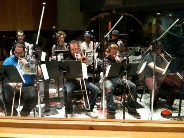 On the bottom left, recording with a big band at Capitol Records in Hollywood, California