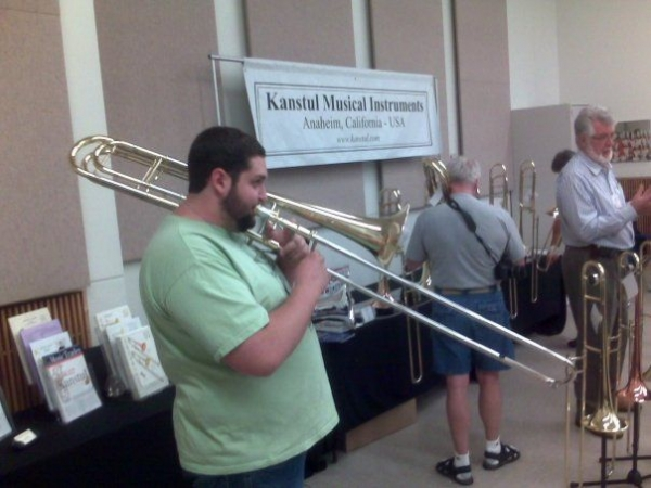 Playing a contrabass trombone at the International Trombone Festival in Salt Lake City, Utah