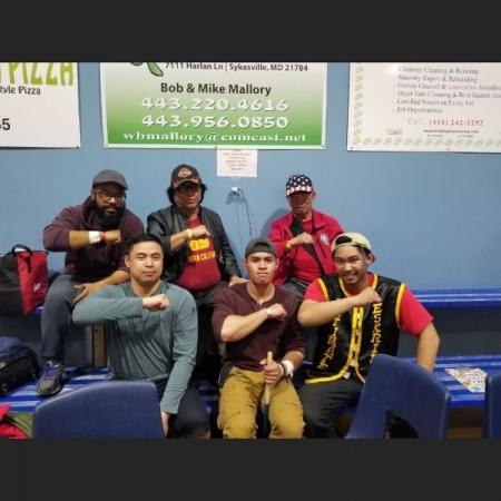 3 students Jeff journey and Fred with mayor and gm ising atillio at  the Olympic national Eskrima championships for the EAST coast.