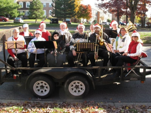Playing piccolo with the Prince William Community Band in the Christmas Parade
