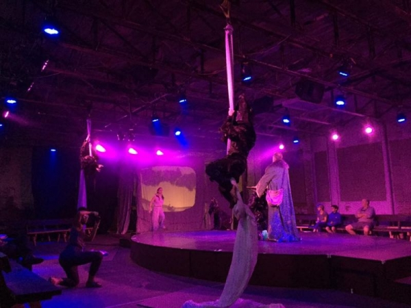 Me as a rock nymph performing aerial silks during The Tempest dress rehearsal