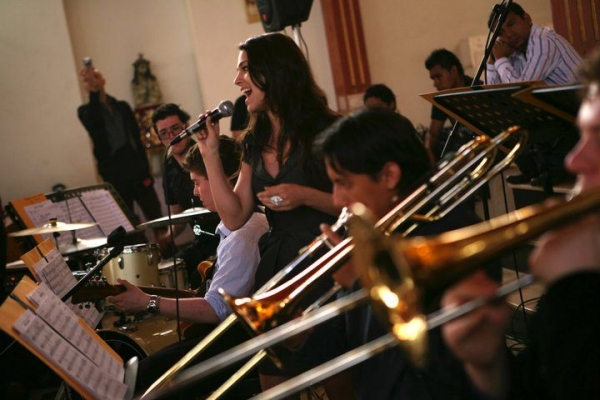 with a jazz big band in Peru