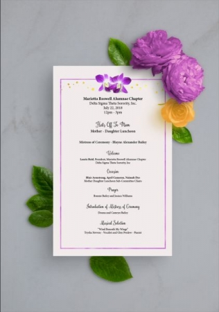Sorority luncheon program- Designed with Adobe Illustrator, Photoshop and InDesign.