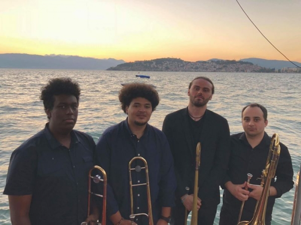 Billy and the rest of the JM Jazz World Orchestra trombone section in Ohrid, Macedonia