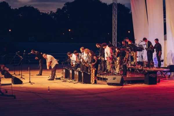 JM Jazz World Orchestra bowing after performance in Zagreb, Croatia