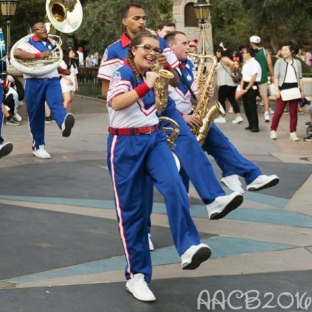 Performing as a part of the Disneyland All-American College Band in Anaheim, California.