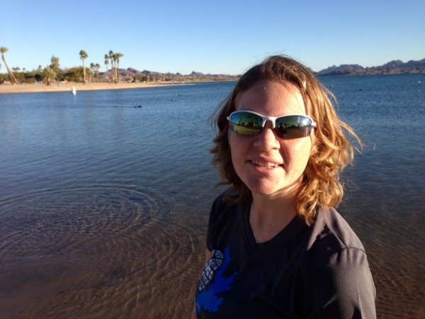Algebra and flute tutor, Lorie Heinrichs, enjoying the warm winter sun in Lake Havasu City, Arizona.