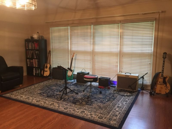 Our Studio is very inviting and promotes learning, equipped with amps, acoustic guitars, electric guitars and Bass Guitar.