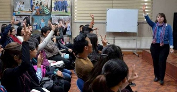 Workshop at the American Center in Ulaanbaatar, Mongolia on how to improve pronunciation.
