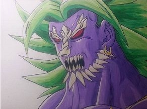 Fusion between Broly and Doomsday. Done in pencil, colored pencil and micron pens.