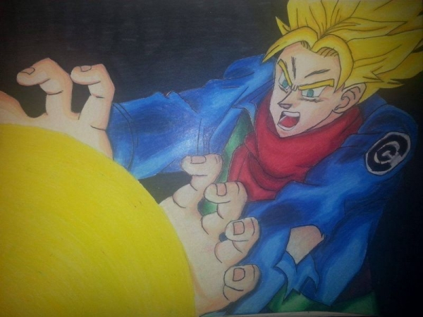 SSJ Future Trunks done in all pencil, colored pencil, and pen. The black background was marker.
