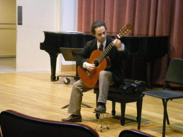 Classical guitar performance at the Aaron Copland School of Music